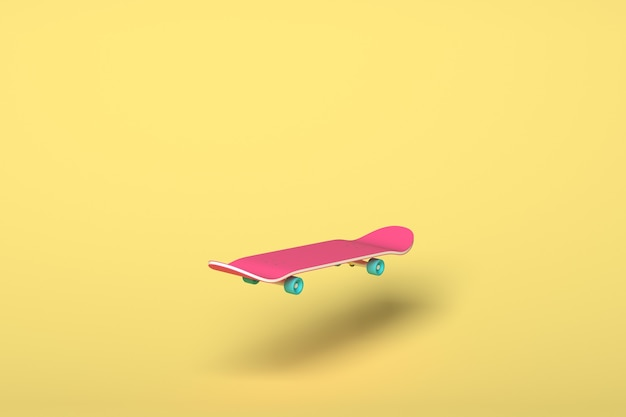 Pink skateboard with blue wheels on a yellow background