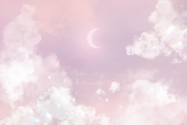 Pink sky background with crescent moon