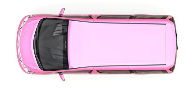 人を運ぶためのピンクの小さなミニバン。光沢のある白い背景の上の立体イラスト。 3dレンダリング。