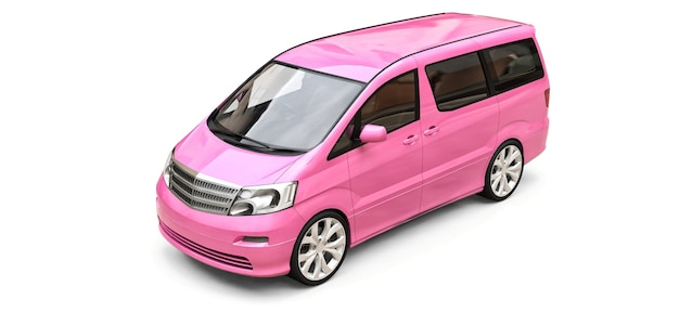 Pink small minivan for transportation of people. three-dimensional illustration on a glossy white background. 3d rendering.