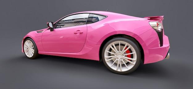 분홍색 작은 스포츠카 쿠페. 3d 렌더링.