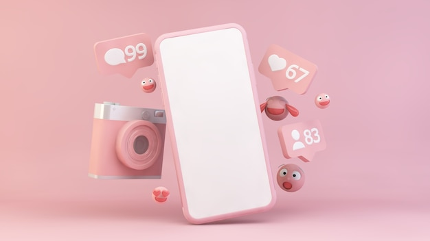 Pink smartphone with notifications and emojis
