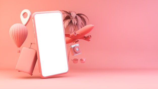 Pink smartphone with travel objects