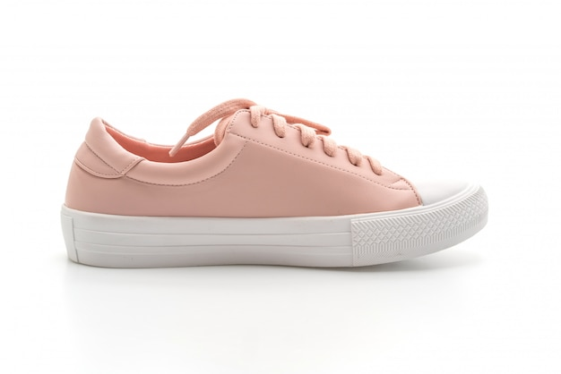 Pink sneakers shoes on white background
