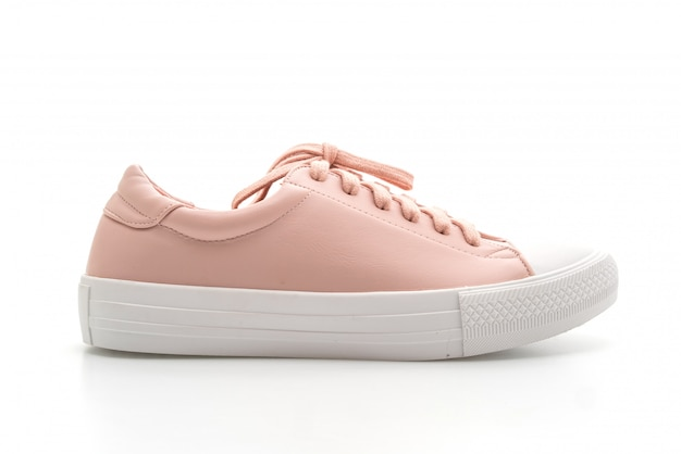Pink sneakers shoes on white