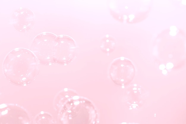Pink soap bubbles background.