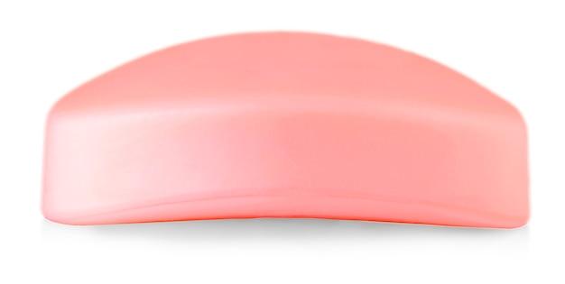 핑크 비누 흰색 배경에 고립입니다.