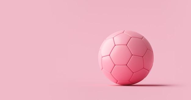 Розовый футбольный мяч или футбольное и спортивное оборудование на розовом пастельном фоне с классической женской командой. 3d-рендеринг.