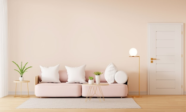 Pink sofa in brown living room interior with copy space