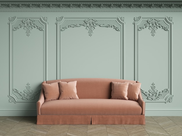 Pink sofa in classic vintage interior with copy space. pale olive walls with moldings and decorated cornice. floor parquet herringbone.  3d rendering