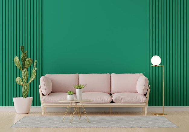 Pink sofa in green living room interior with copy space