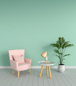 Pink sofa in green living room, 3D rendering