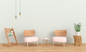 Pink sofa in room for mockup, 3D rendering