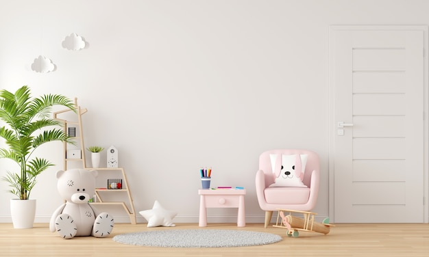 Pink sofa and table in child room interior with copy space Premium Photo