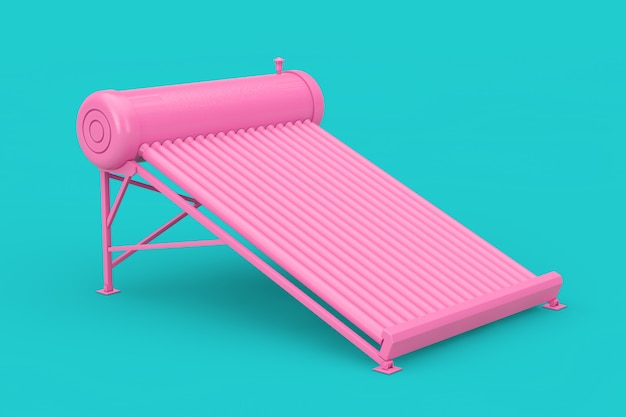 Pink solar water heater panels in duotone style on a blue background. 3d rendering