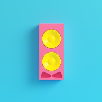 Pink speaker on bright blue background in pastel colors
