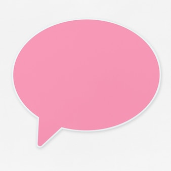 Pink speech bubble icon isolated