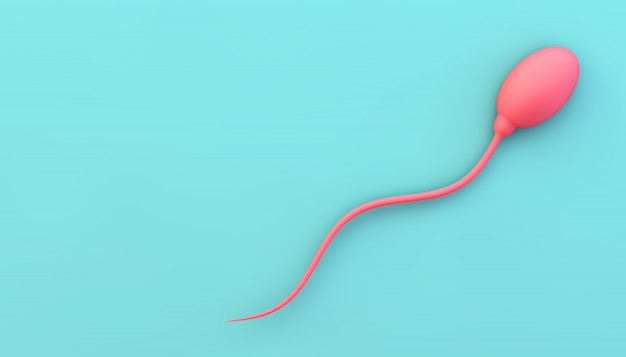 Pink sperm on blue