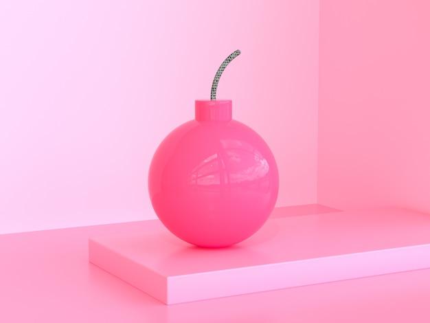 Pink sphere ball blast 3d rendering pink scene