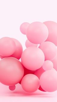 Розовая иллюстрация перевода состава 3d сферы. легкий мягкий резиновый материал в светлой студии. креативные модные обои.