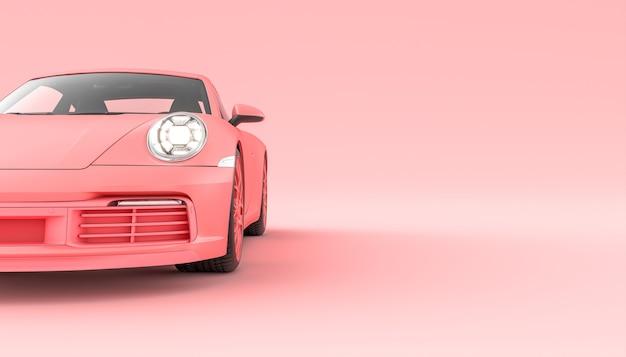Pink sports car on pink background. 3d render.