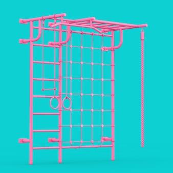 Розовые настенные решетки спортивной площадки для детей в двухцветном стиле на синем фоне. 3d рендеринг