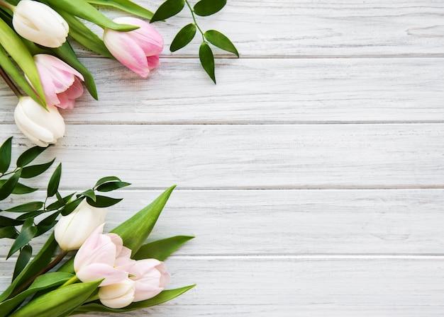 Pink spring tulips