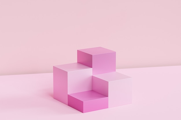 Розовые квадратные подиумы на пастельной поверхности