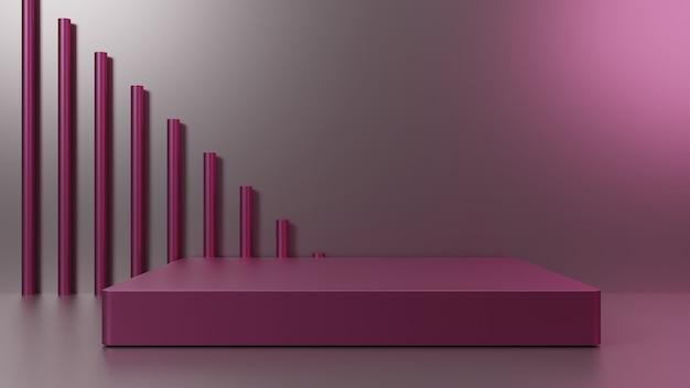 Pink stage 3d render for product presentation