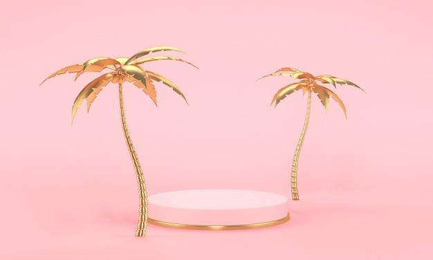 핑크 바탕에 골드 손바닥과 핑크 무대 연단. 최소한의 스타일. 3d 렌더링