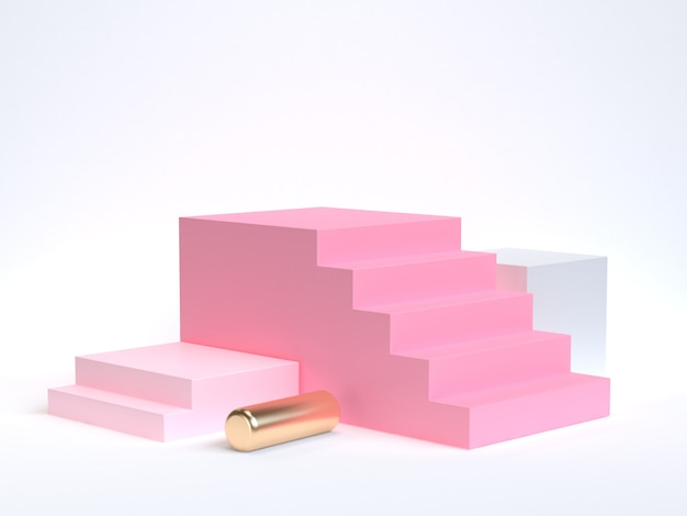 Pink staircase-stairway 3d rendering white  soft pink gold geometric shape