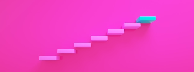 Pink stairs leading to blue top step, top level or career, 3d rendering, panoramic image