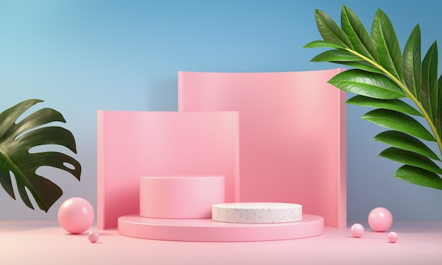 Pink step podium set with leaves