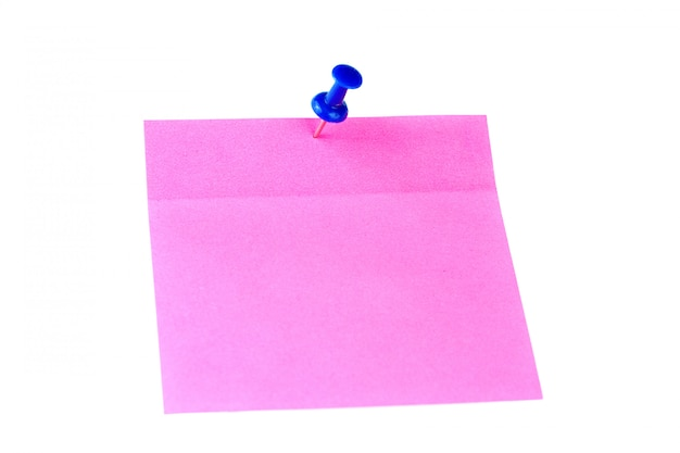 Pink sticker paper isolated on white background