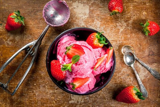 Pink strawberry ice cream