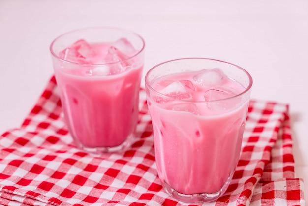 Pink strawberry milkshake