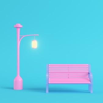 パステルカラーのベンチとピンクの街路灯