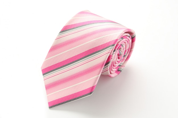 Pink striped tie isolated on white background