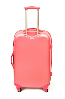 Pink suitcase isolated on white