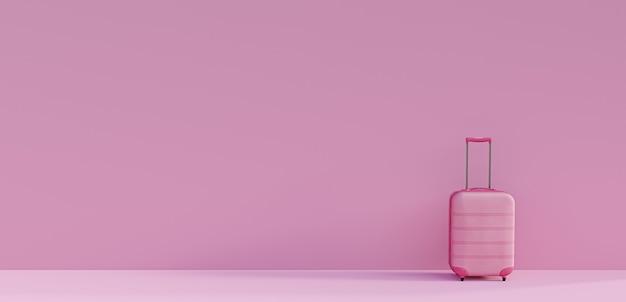 Розовый чемодан на розовом фоне. понятие о туризме и путешествиях. минималистичный стиль. 3d визуализация