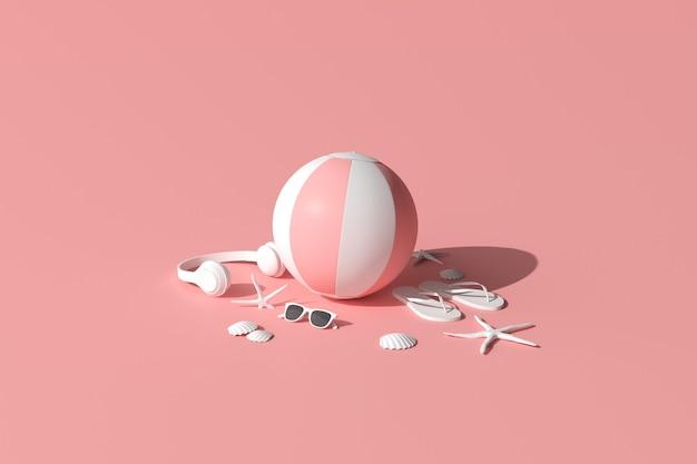 ピンクの夏のビーチのコンセプト。夏のアクセサリー、ヘッドフォン、サングラス、ヒトデ、貝殻、インフレータブルボール、フリップフロップ。 3dレンダリング。
