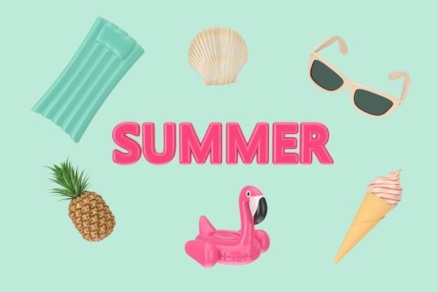 緑の背景に夏のビーチオブジェクトとピンクの夏のサイン。 3dレンダリング