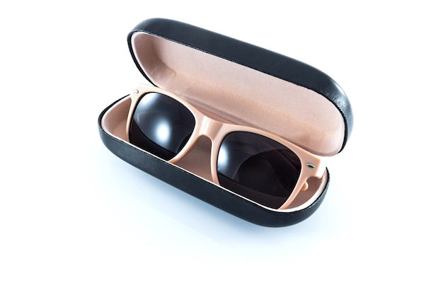 Pink sunglasses in  pink opened case