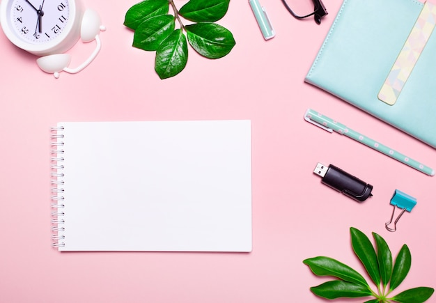 On a pink surface, glasses, a white alarm clock, plants, a flash drive, a pen and a blank notebook with a place to insert text