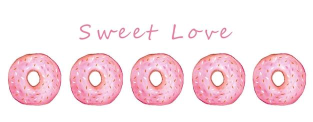 핑크 달콤한 도넛 수채화 달콤한 음식