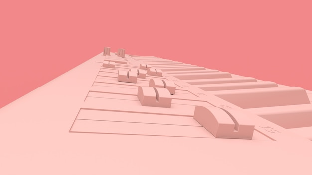 Pink synthesizer midi keyboard 3d rendering