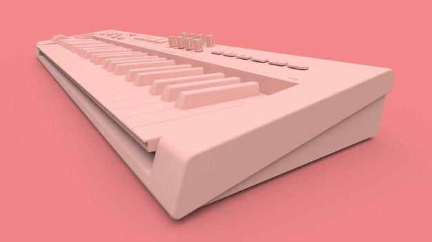 분홍색 표면에 분홍색 신디사이저 midi 키보드