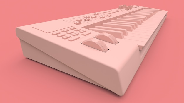 Pink synthesizer midi keyboard on pink background. synth keys close-up. 3d rendering.