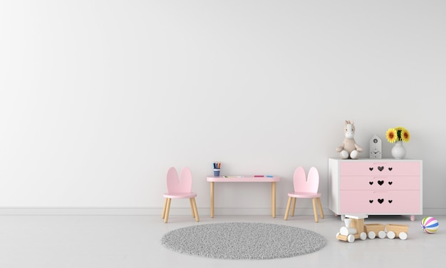 Pink table and chair in white children room