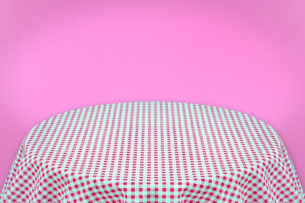 Pink table cloth with pink background . background for plain text or products